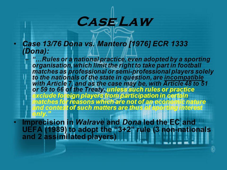Case Law Case 13/76 Dona vs. Mantero [1976] ECR 1333 (Dona):